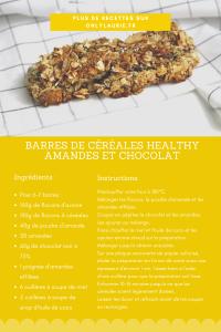 Fiche recette barres de céréales healthy aux amandes et au chocolat.