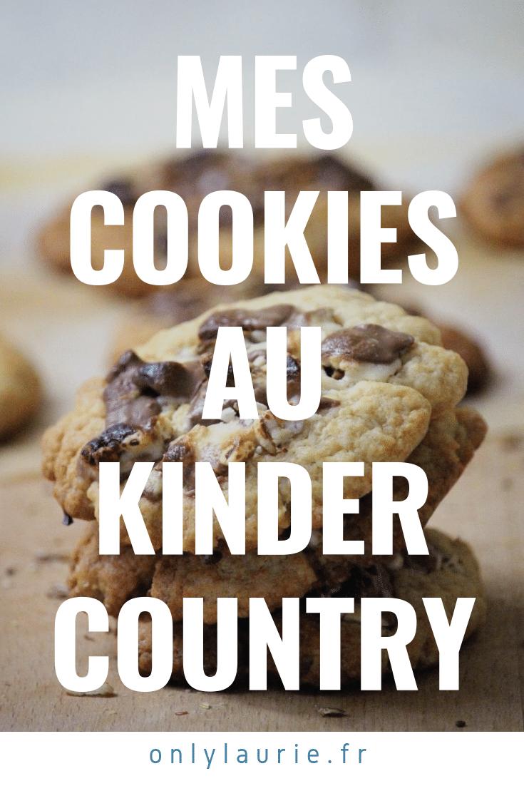 Mes cookies au Kinder Country. Une recette gourmande, facile à faire, parfaite pour un goûter en famille.