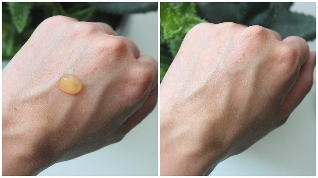 Texture du gel d'aloe vera et rendu sur la peau.
