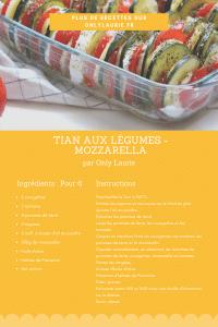 Fiche recette d'un tian aux légumes et à la mozzarella.