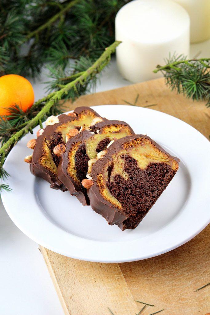 Recette facile et rapide cake marbré chocolat et clémentines.