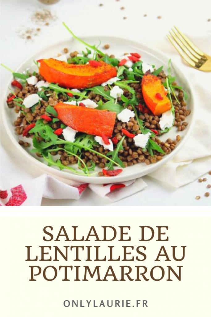 Salade de lentilles au potimarron. Recette healthy et végétarienne.