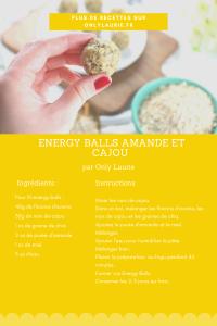 Fiche recette pour faire des energy balls amande et cajou. Une recette rapide et saine.