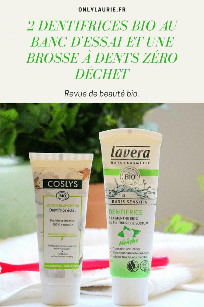 Mon avis sur 2 dentifrices bio et une brosse à dents zéro déchet. Des produits pour avoir des dents blanches, propres et une haleine fraîche naturellement. A des prix très abordables.