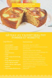 Fiche recette de gâteau au yaourt healthy pommes et noisettes. Une recette gourmande sans lactose.