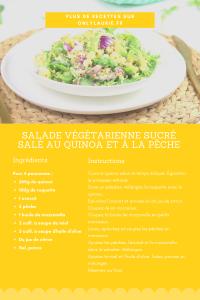 Fiche recette de salade végétarienne au quinoa et à la pêche. Une recette healthy parfaite pour une lunch box.