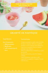 Fiche recette de granité de pastèque. Healthy et rafraîchissante. Idéale pour l'été.
