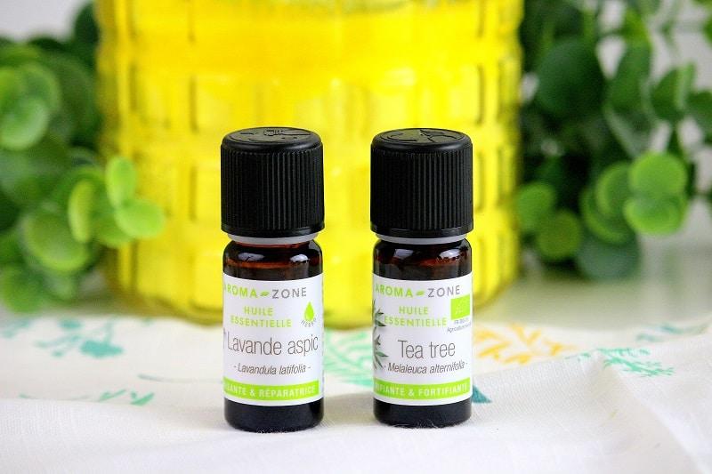 huiles essentielles de lavande et de tea tree pour soulager les piqûres de moustique