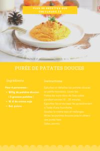 Fiche recette purée de patates douces.