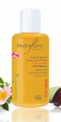 huile-de-beaute-visage-corps-et-cheveux-bio-rose-caresse-hydraflore only laurie