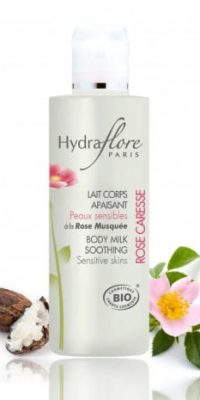 lait-corps-apaisant-bio-rose-caresse-hydraflore only laurie