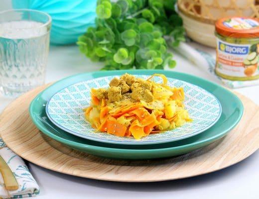 tagliatelles carottes et courgettes au tofu only laurie