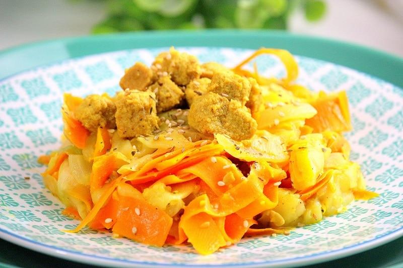 tagliatelles de légumes au tofu. Un plat healthy, vegan et facile à faire.