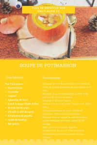 Fiche recette pour réaliser une soupe de potimarron. Une recette réconfortante et healthy.