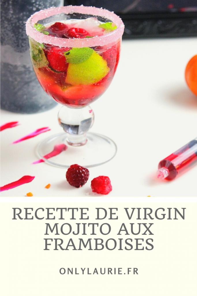 Recette de virgin mojito aux framboises. Cocktail sans alcool et facile à faire.