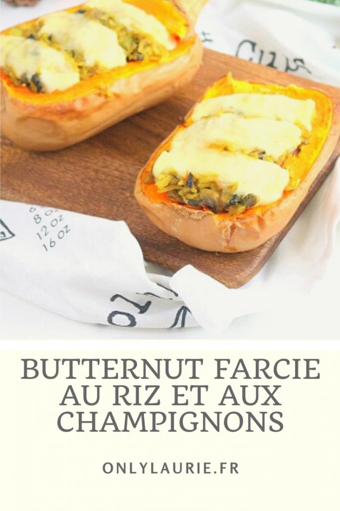 Recette de butternut farcie au riz et aux champignons. Facile à faire et végétarienne.