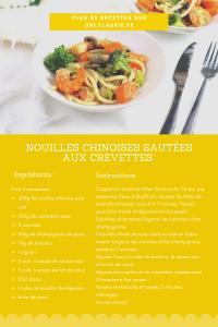 Fiche recette de nouilles sautées aux crevettes et petits légumes. Recette healthy et facile à faire.