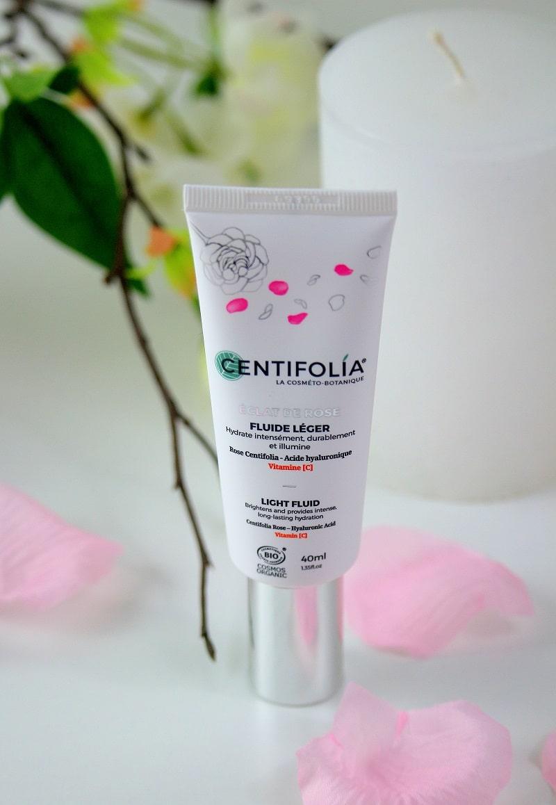 Fluide léger hydratant de la gamme éclat de rose de chez Centifolia.
