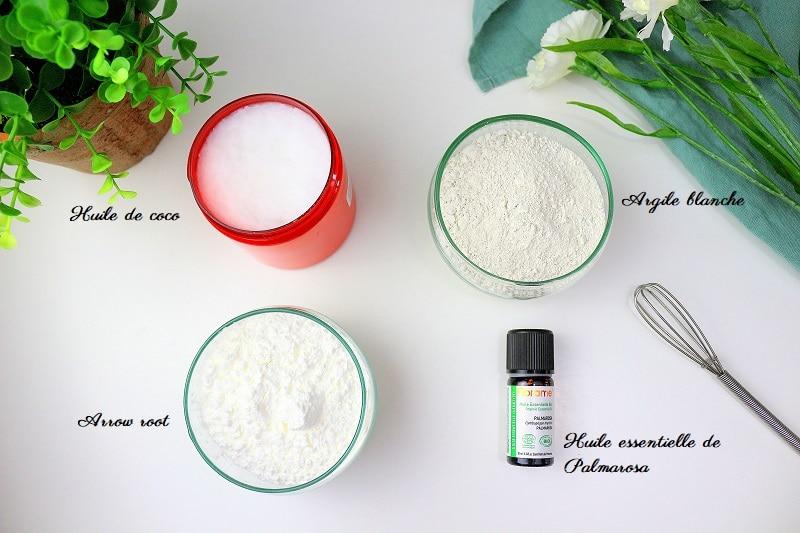 Ingrédients pour faire un déodorant maison parfait pour les peaux sensibles.