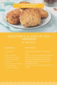 Fiche recette de galettes vegan à l'amande et la coco, parfaites pour un encas sain.
