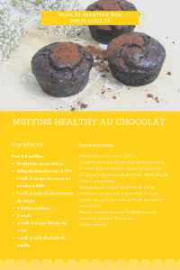Fiche recette pour faire des muffins healthy au chocolat. Sans gluten et sans lactose.