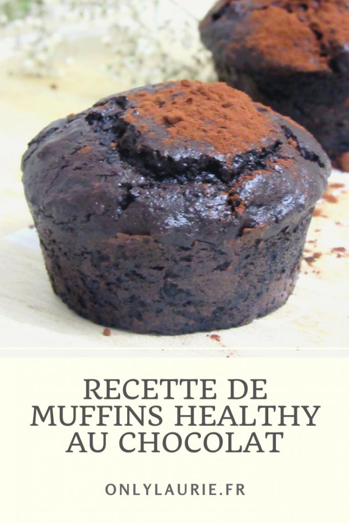 recette de muffins healthy au chocolat. Sans lactose, sans gluten. Gourmand, facile et rapide à faire.