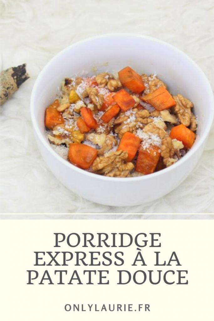 Recette de porridge à la patate douce. Express et facile à faire pour un petit déjeuner healthy et équilibré. Recette vegan
