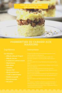 Fiche recette pour réaliser un parmentier de canard aux marrons.
