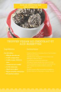 Fiche recette pour faire des truffes vegan au chocolat et aux noisettes. Une recette gourmande et facile à faire.