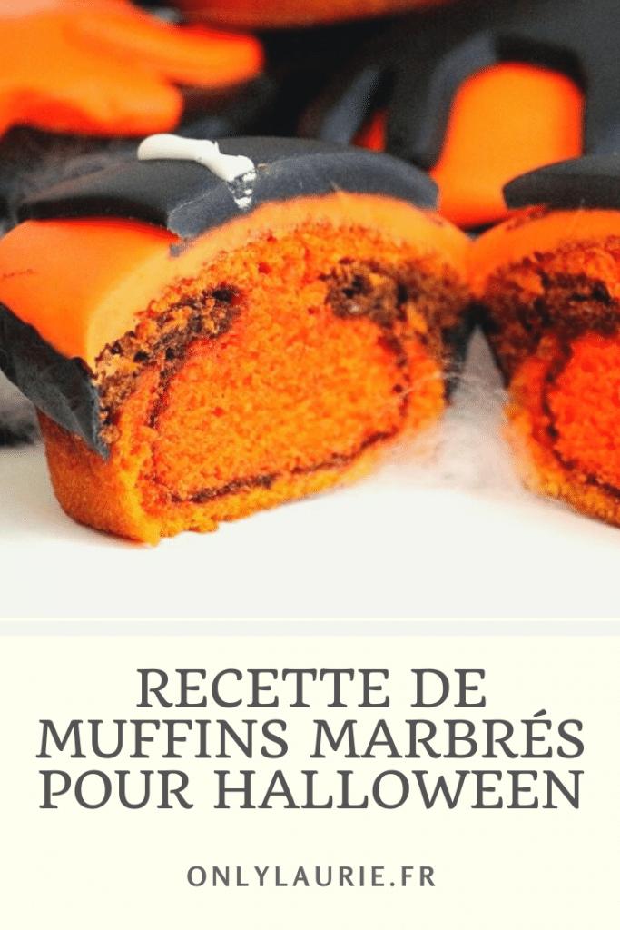 Recette de muffins marbrés pour halloween. Recette gourmande à la vanille et au chocolat. Facile à faire avec des décors d'halloween. Muffins marbrés à la vanille et au chocolat.
