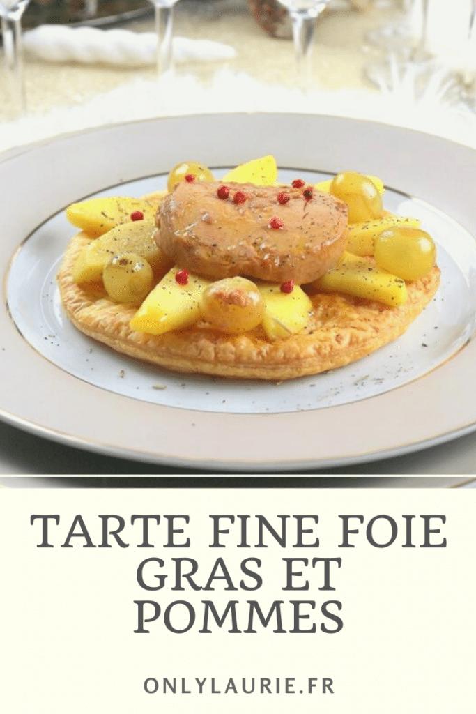 Recette de tarte fine foie gras et pommes. Parfait pour une entrée gourmande facile à faire. Idéal pour un repas de fêtes ou en amoureux.