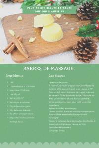 Fiche recette pour réaliser des barres de massages maison pour Noel. Une recette naturelle et zéro déchet, facile et rapide à faire.
