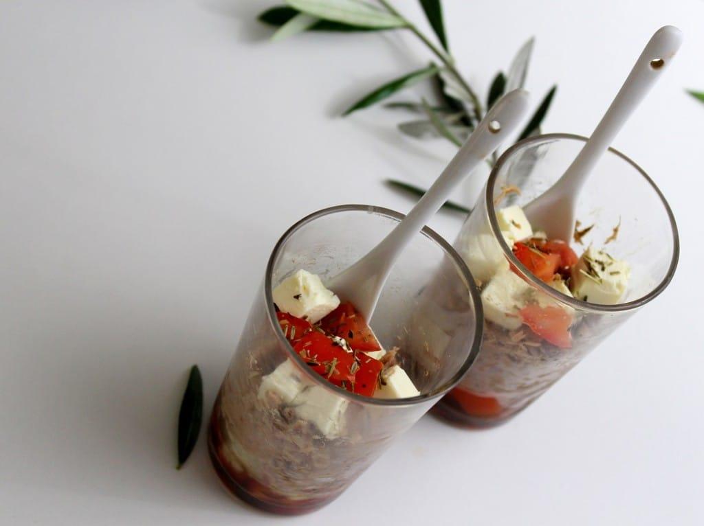 recette de verrines de thon et tomates pour un apéro healthy.