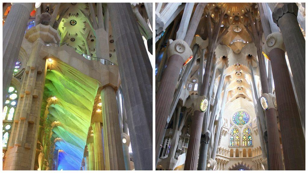 Intérieur de la sagrada Familia à Barcelone. Spectacle de couleur avec les superbes vitraux.