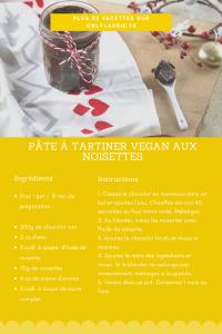Fiche recette de pâte maison vegan aux noisettes.