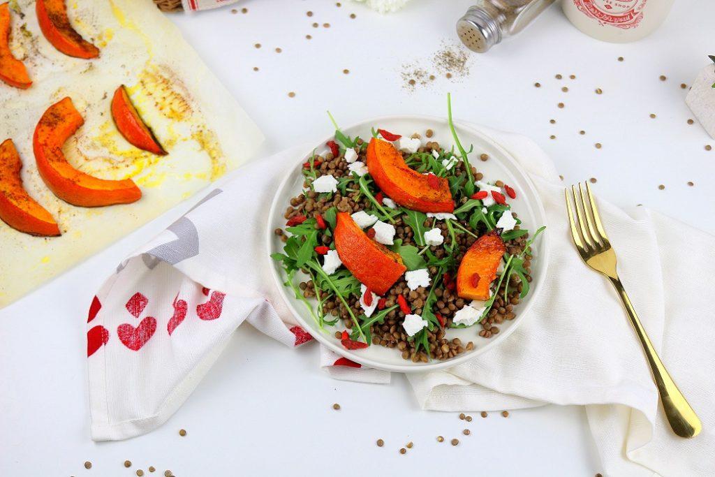 salade végétarienne lentilles et potimarron. Recette saine et facile.