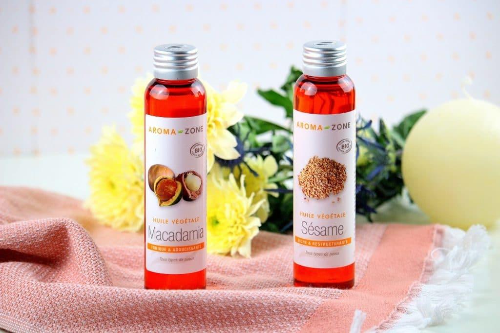huile végétales de macadamia et de sésame pour faire une huile de massage - only laurie
