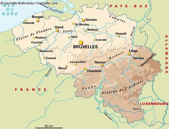 Carte de la Belgique pour préparer un road trip.