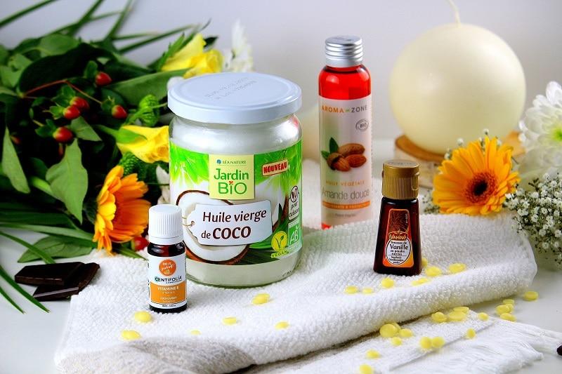Ingrédients pour réaliser un baume pour le corps au chocolat blanc. Une recette simple et naturelle.