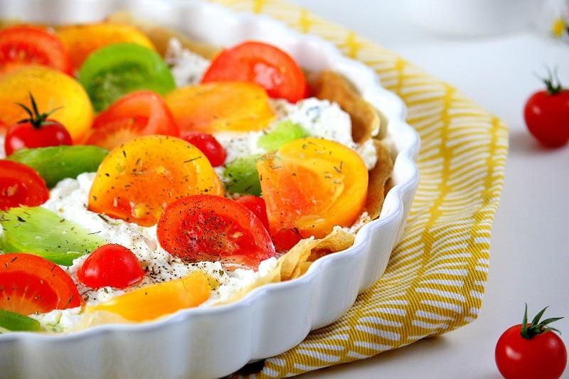 Recette de tarte froide aux tomates. Facile et rapide à faire parfaite pour l'été.