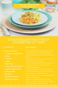 Fiche recette de tagliatelles carottes et courgettes au tofu. Une recette vegan facile à faire.