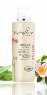 gel-douche-confort-bio-rose-caresse-hydraflore only laurie