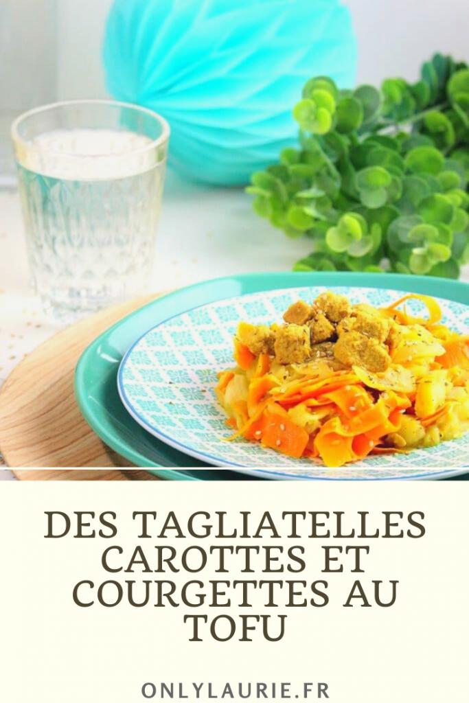 Recette vegan de tagliatelles carottes et courgettes au tofu.
