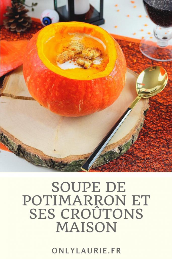 Recette de soupe de potimarron et ses croûtons maison. Une recette healthy et facile à faire.