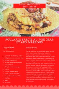 Fiche recette de poularde farcie au foie gras et au marrons.