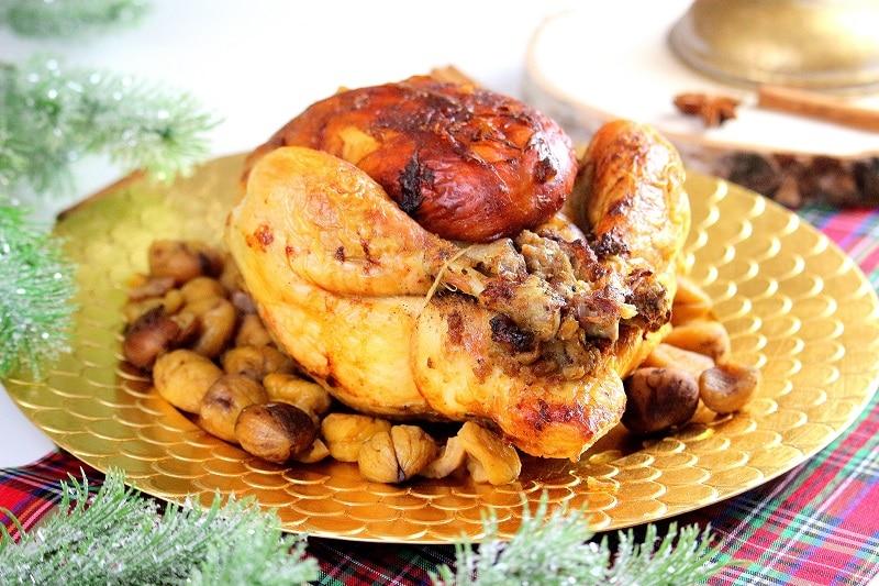 Recette de poularde farcie aux marron et aux foie gras.