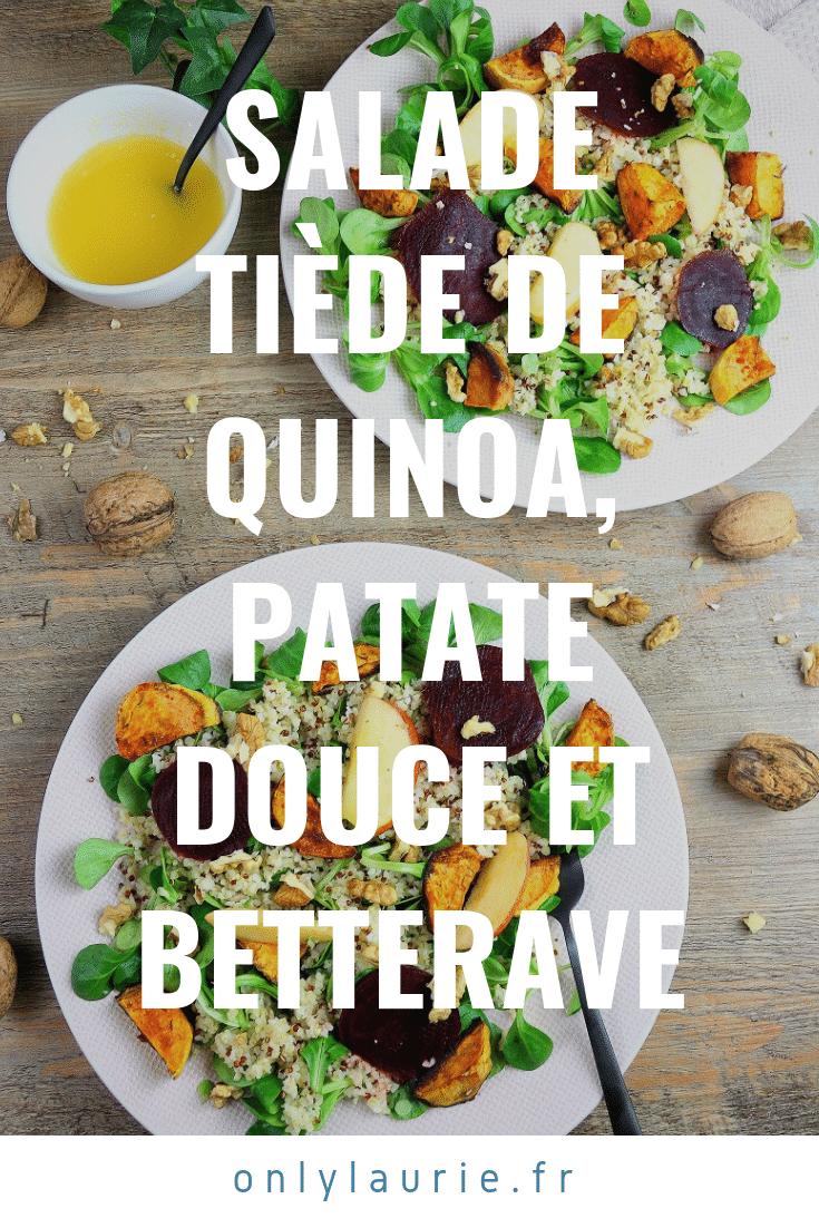Salade tiède végétarienne de quinoa, patate douce et betterave. Gourmande, healthy et facile à faire.