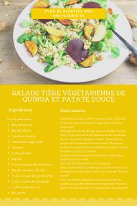 Fiche recette pour réaliser une salade végétarienne et gourmande au quinoa.