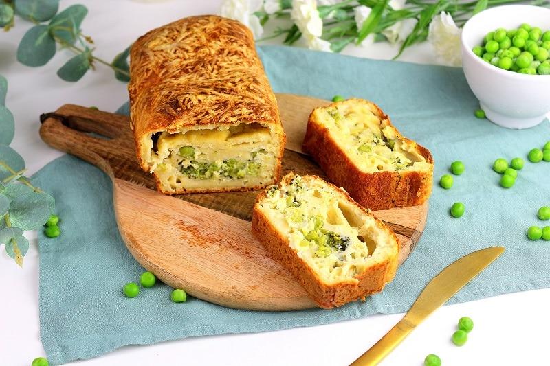 cake brocoli petits pois et ricotta. Une recette printanière et facile à faire.