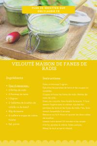 Fiche recette de velouté maison de fanes de radis. Une recette de printemps, facile à faire.